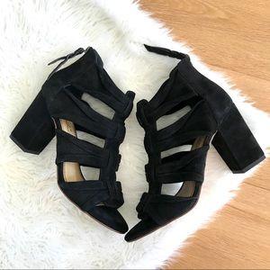 Splendid Nandi Black Suede Block Heel Sandals